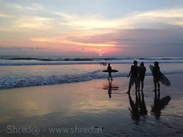 sunset at echo beach, bali, indonesia