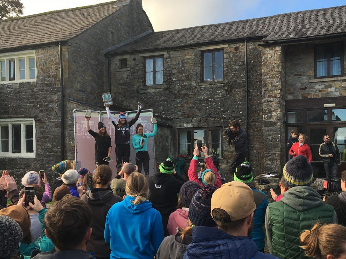 Elite racer Martha Gill, Katy Curd & Veronique Sandler on the podium of Hopetech Women Enduro