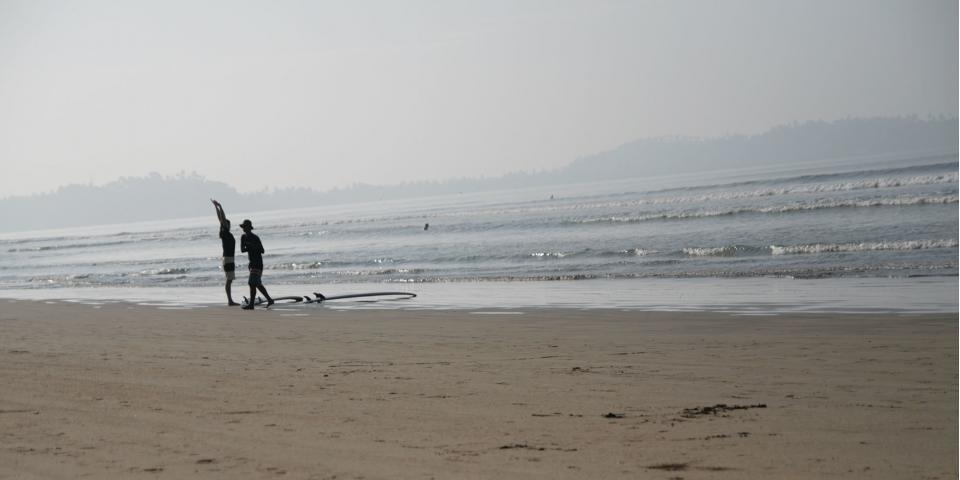 surfers getting ready for the first waves of the morning