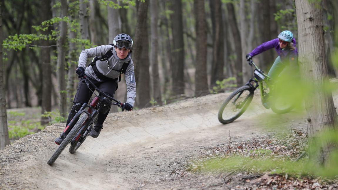 two women on mountain bike trail