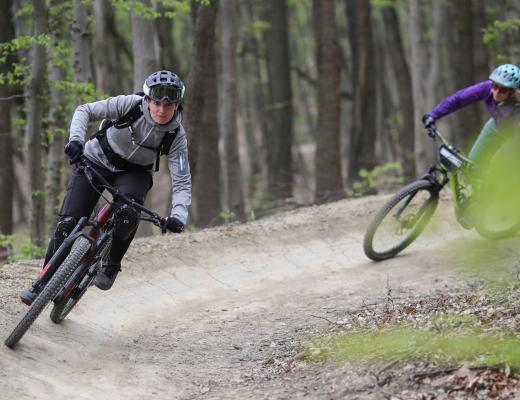 two women on mountain bike trail