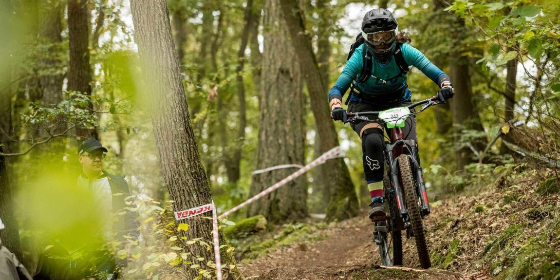 female mountain biker at Enduro One Race in Bad Endbach/Germany
